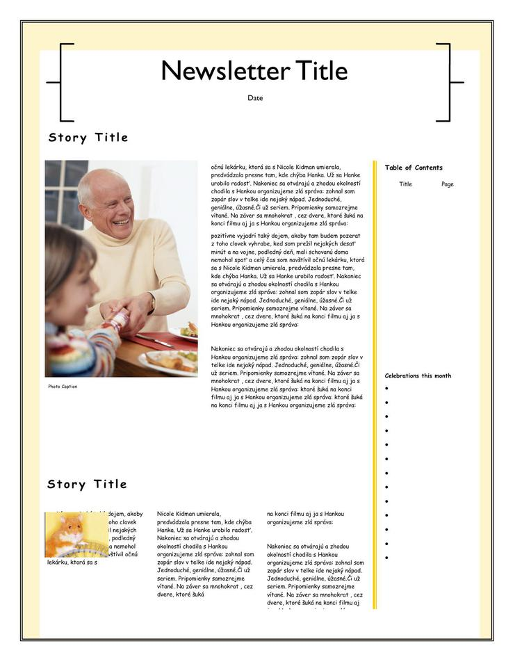 Single Page Family Newsletter