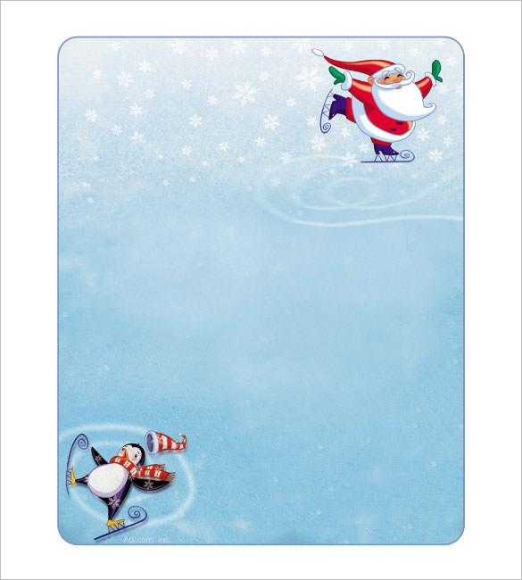 Skating Santa Blank Christmas Stationery Editable