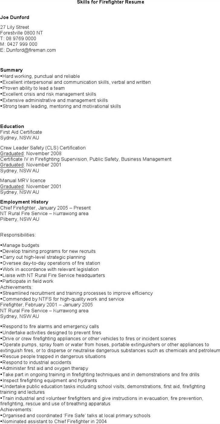 Firefighter Resume Templates Download Free Premium Templates   Firefighter  Resume