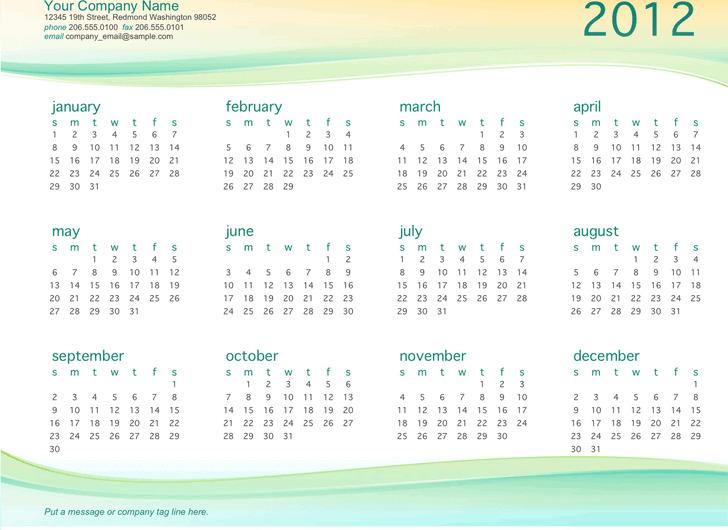 Small Business Calendar Template