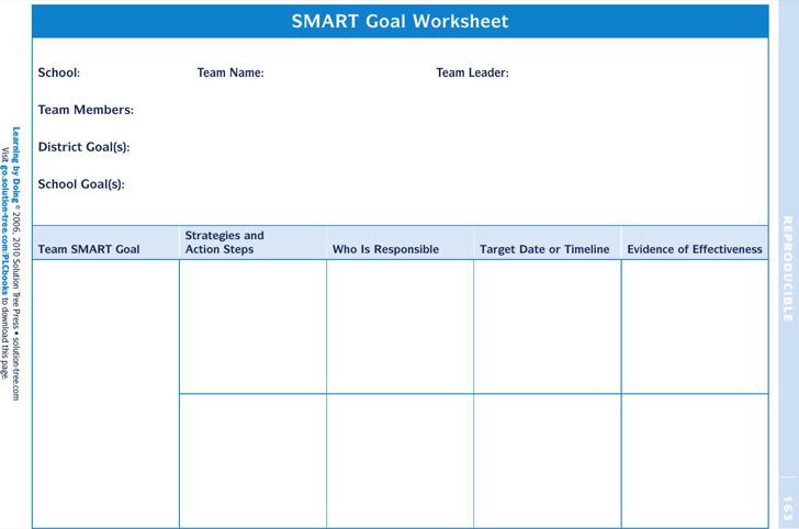 Smart Goals Worksheet Template