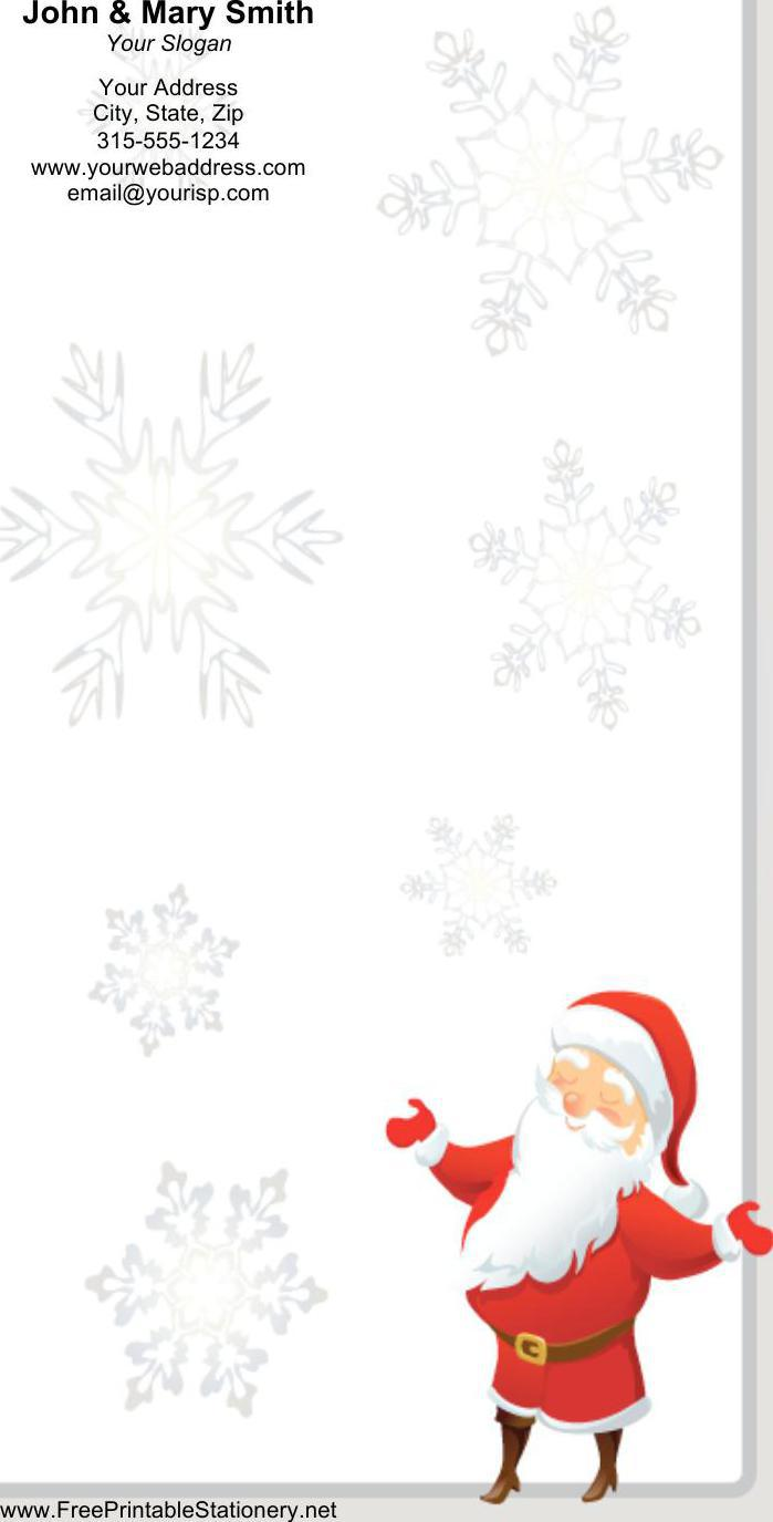 Smiling Santa Gray Border Stationery Design Word Format