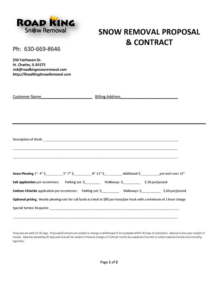 Snow Plowing Contract Templates – Snow Plowing Contract Template