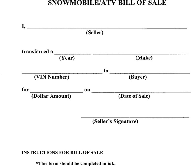 Snowmobile/ATV Bill of Sale
