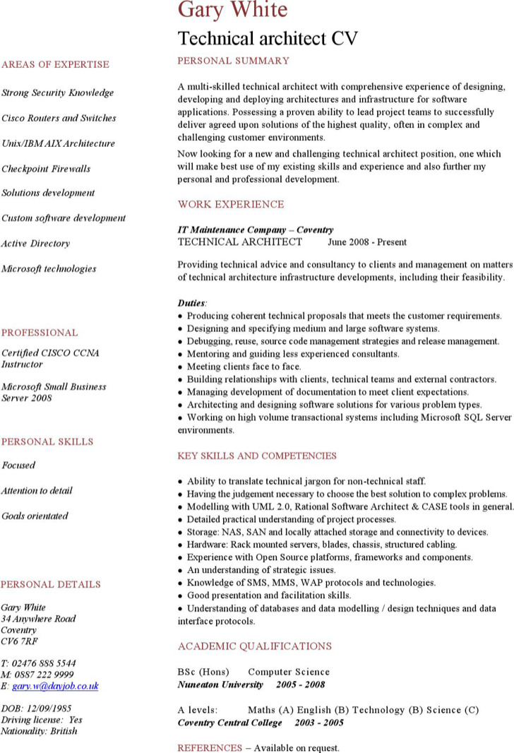Software Architect Resume