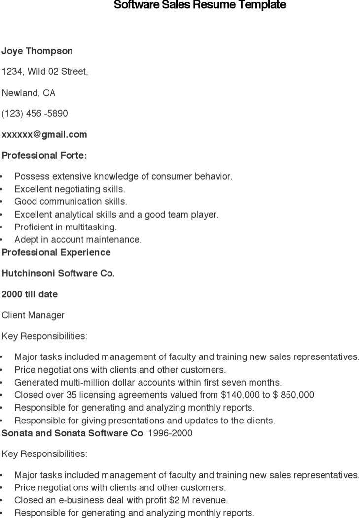 Software Sales Resume Template