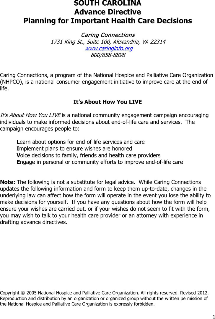 South Carolina Advance Health Care Directive Form