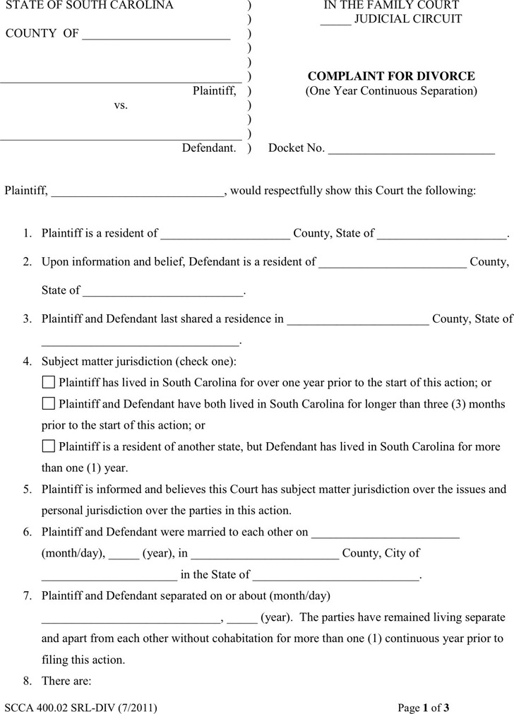 South Carolina Complaint For Divorce