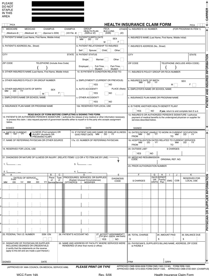 South Carolina Health Insurance Claim Form