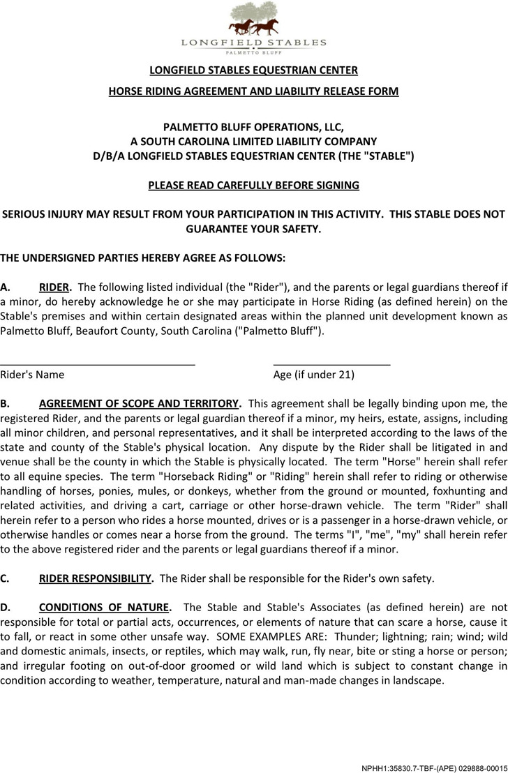 South Carolina Horse Riding Agreement And Liability Release Form