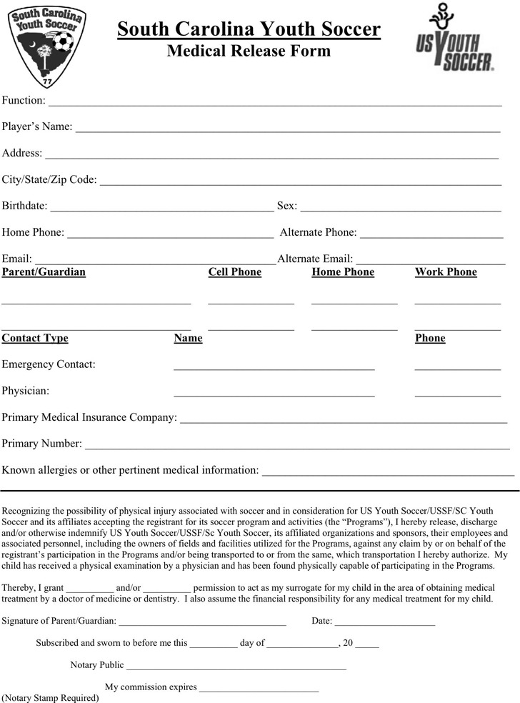 South Carolina Medical Release Form 2