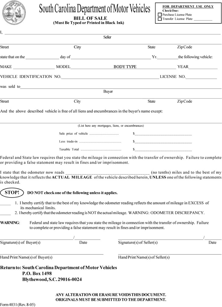 South Carolina Motor Vehicle Bill of Sale Form