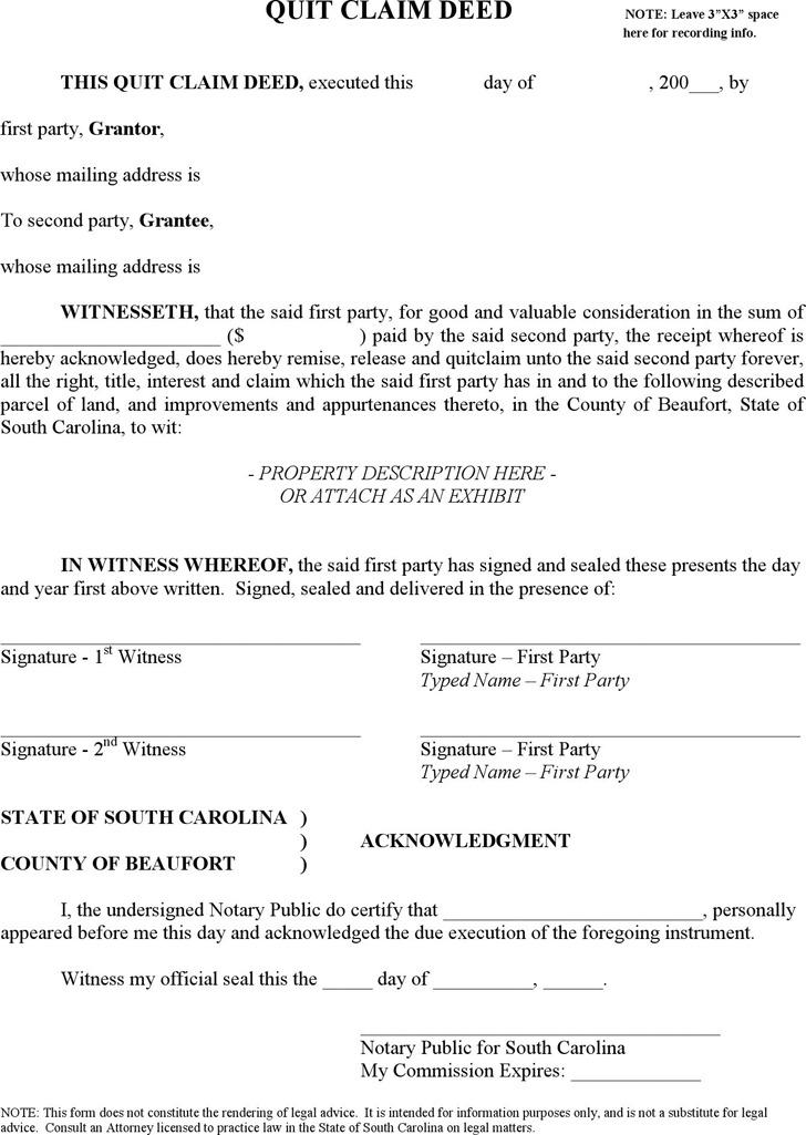 South Carolina Quitclaim Deed Form 1