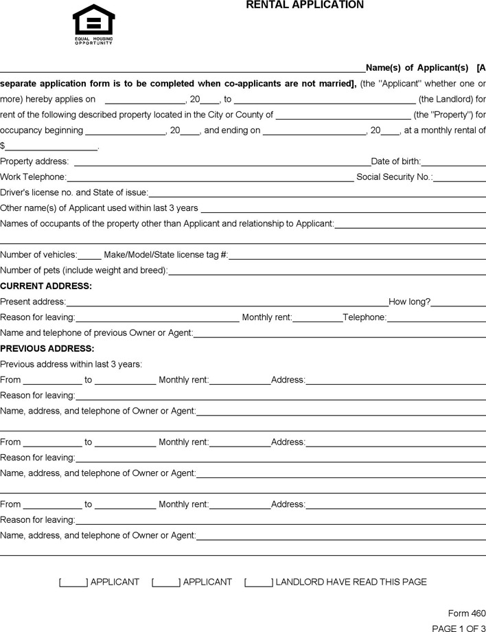 South Carolina Rental Application Form