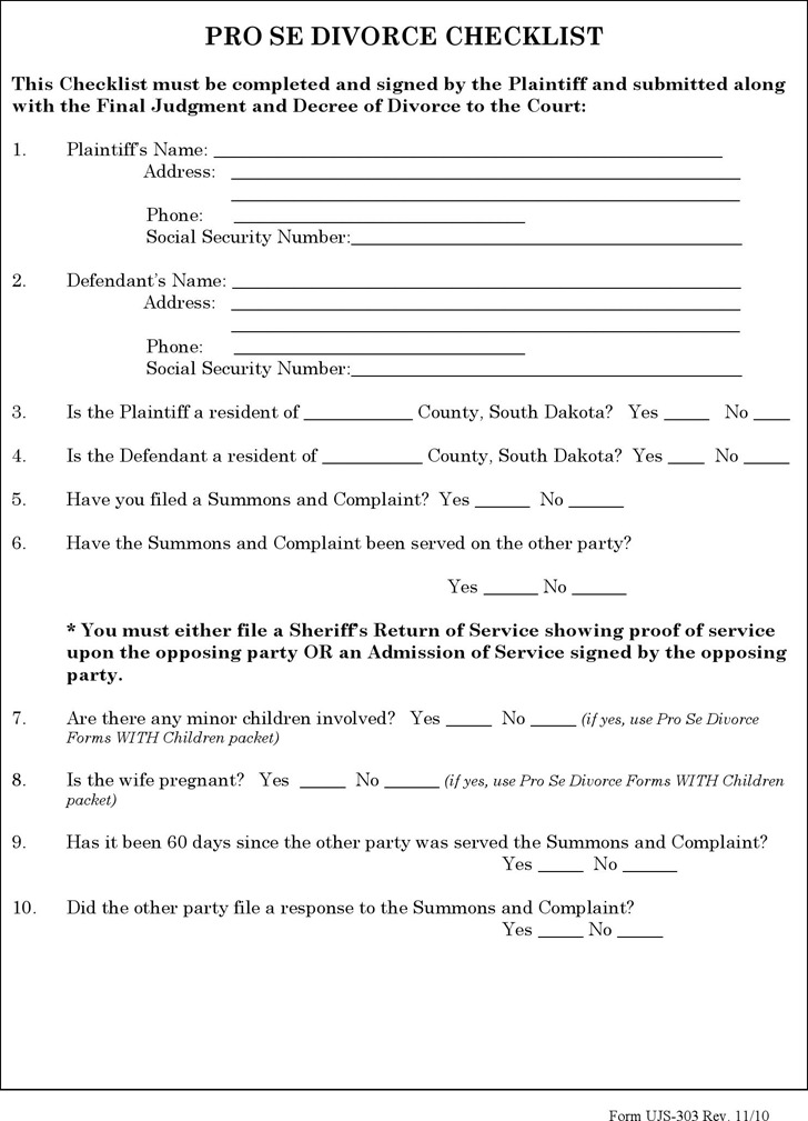 South Dakota Divorce Papers | Download Free & Premium Templates