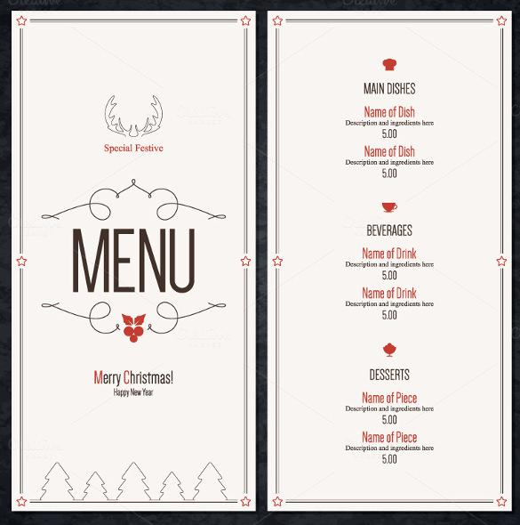 Special Christmas Festive Menu Template Download  Free Xmas Menu Templates