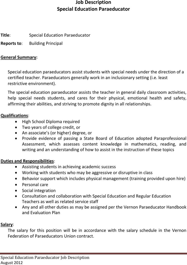 Special Edition Paraeducator Resume