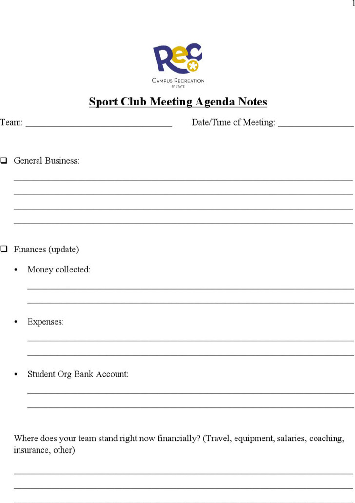 Sports Club Meeting Agenda