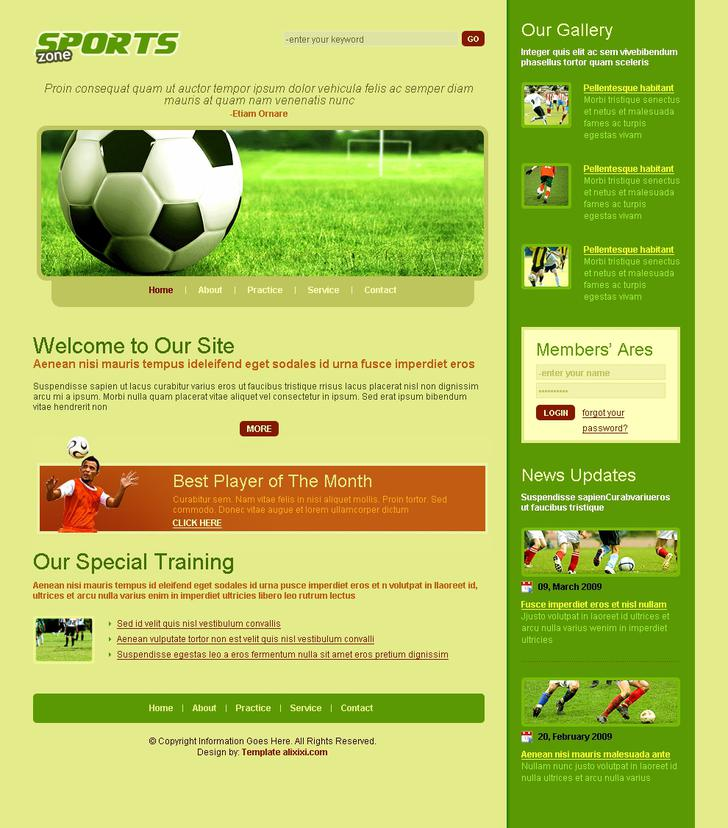 Sports Soccer Club Website Template