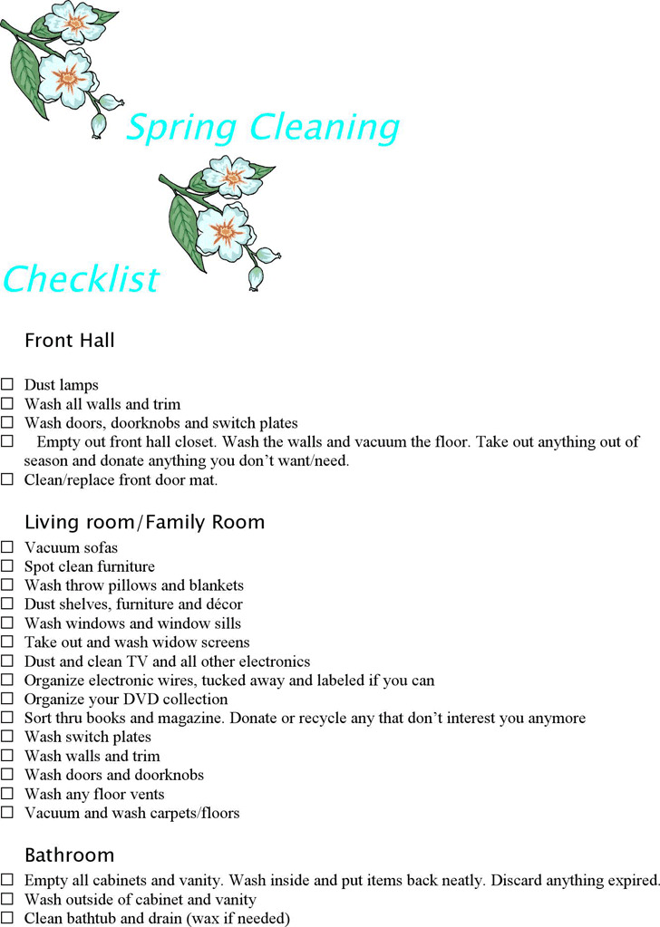 Spring Cleaning Checklist 1