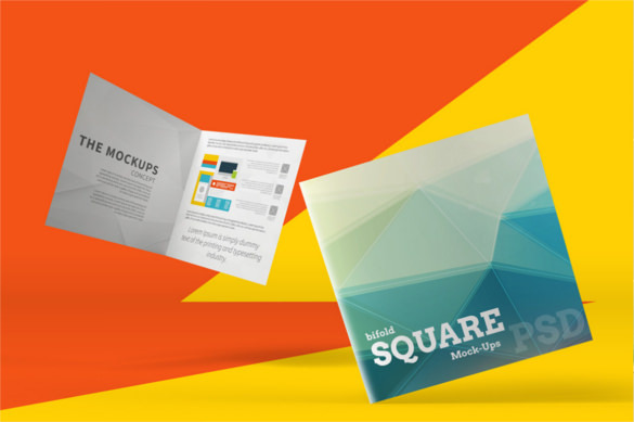 Square Bi-Fold Brochure Mockups PSD Download
