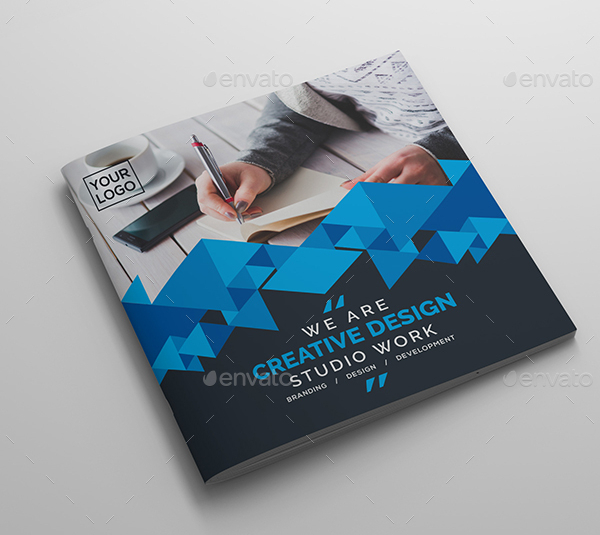 Square Bi-Fold Brochure Photoshop PSD