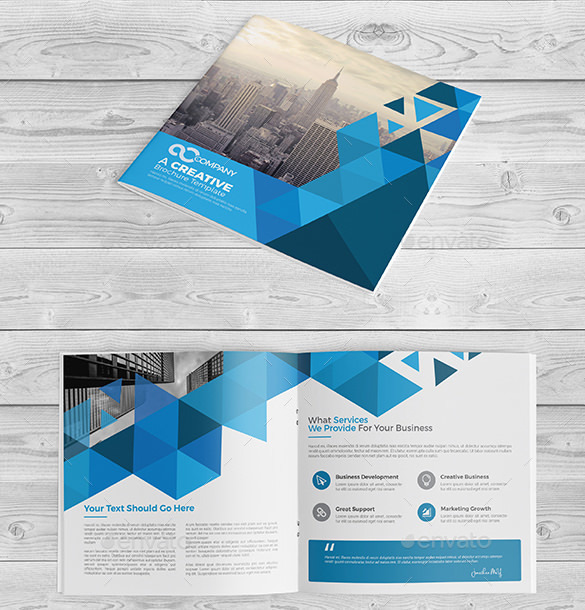 Square Bi Fold Brochure Template AI Format Download