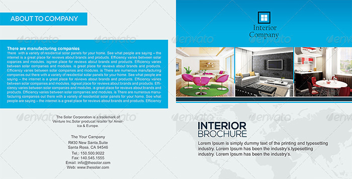 Square Bifold Brochure Interior Design Template