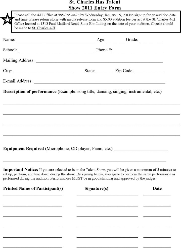 St. Charles has Talent Show 2011 Entry Form