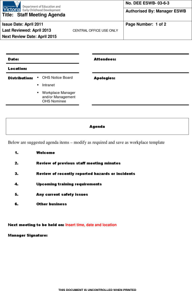 Staff Microsoft Meeting Agenda Template