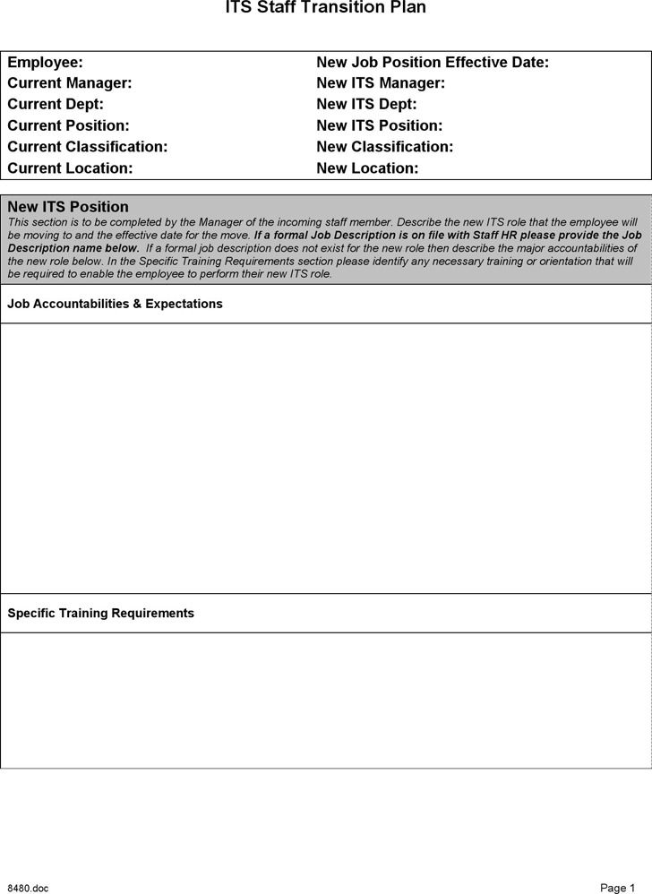 Staff Transition Plan Template