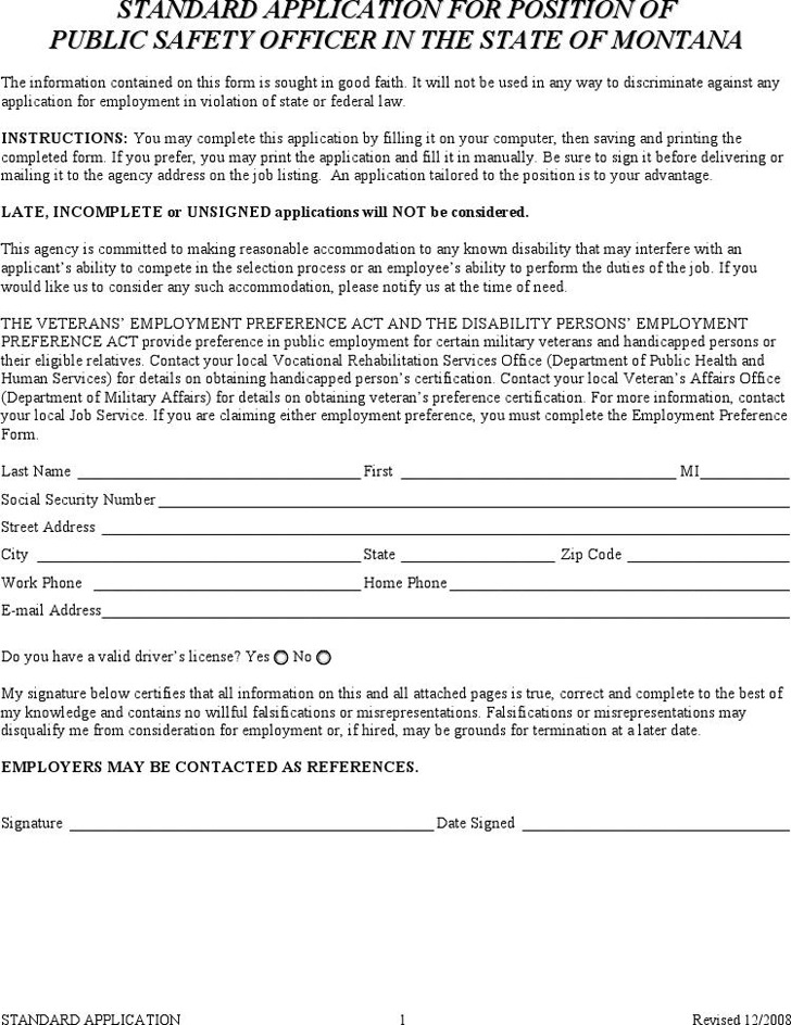 Standard Application for Position of Public Safety Officer in the State of Montana