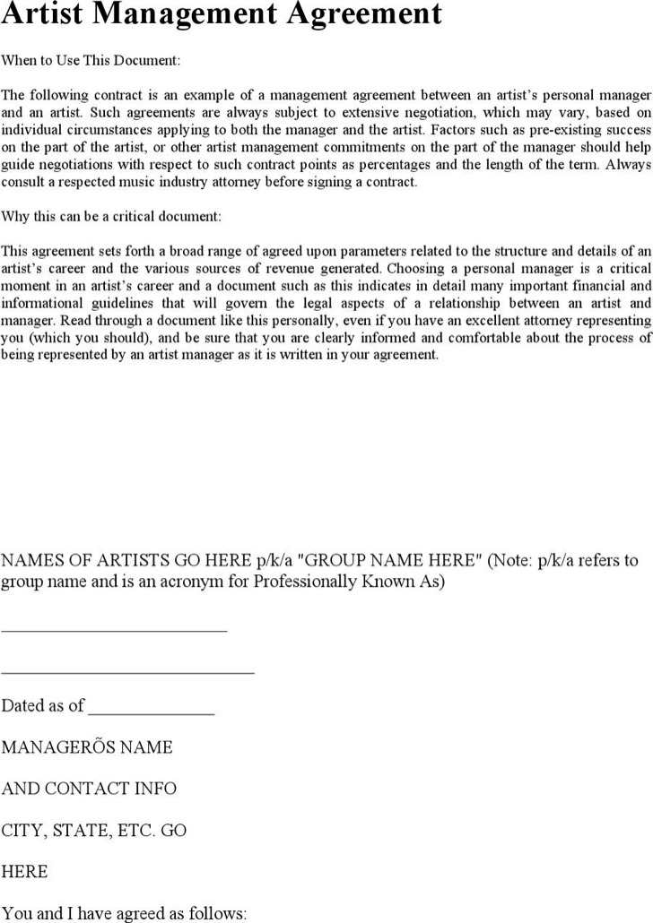 artist management contract templates download free