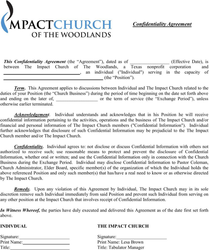 Standard Confidentiality Agreement Templates – Standard Confidentiality Agreement