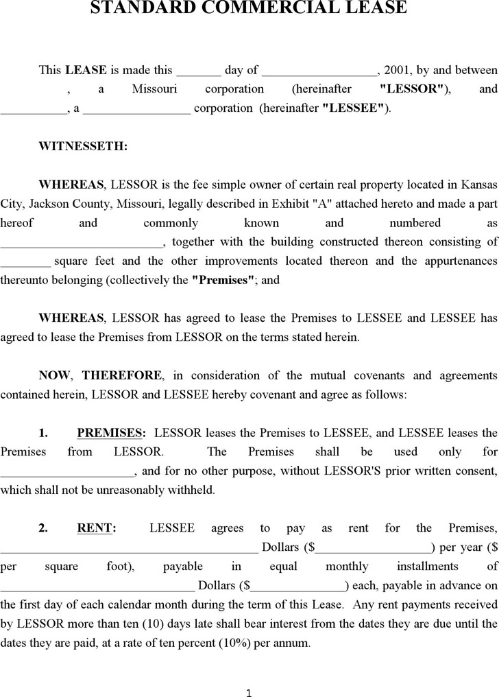 Commercial Lease Agreement  Download Free  Premium Templates