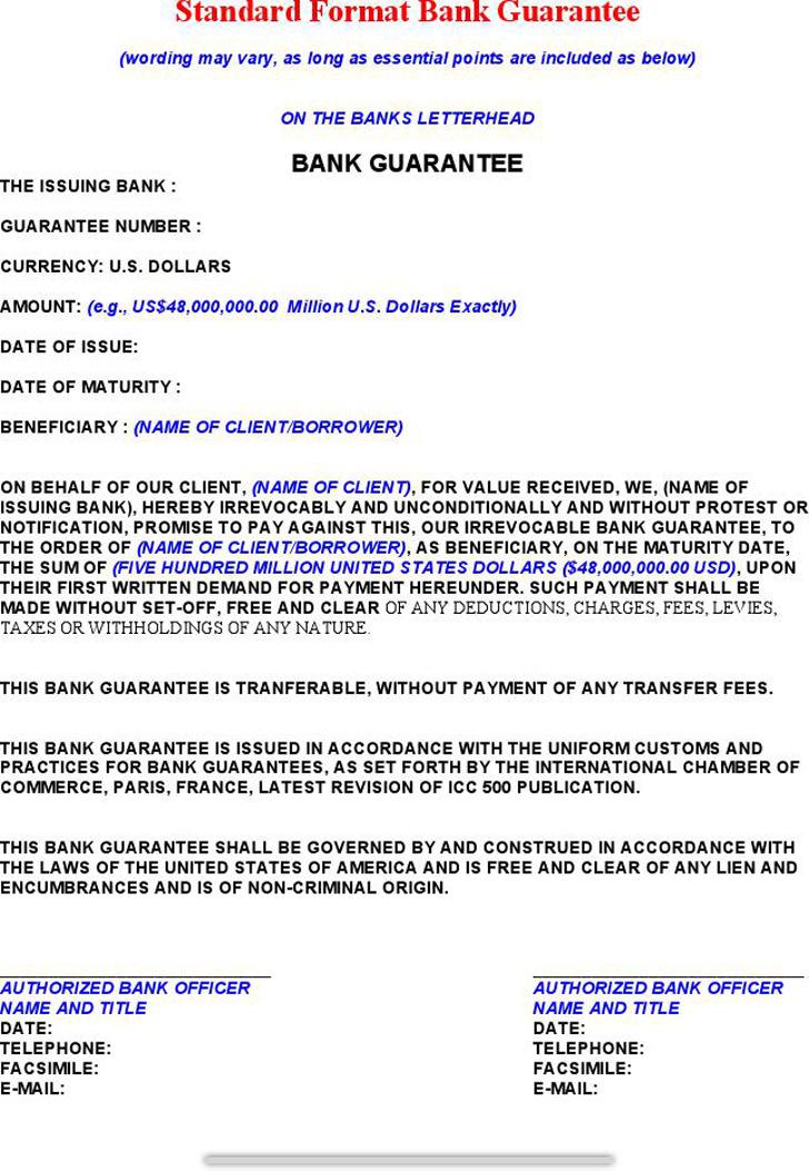 Standard Formate Bank Guarantee
