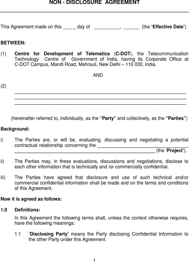 Standard Non Disclosure Agreement Template