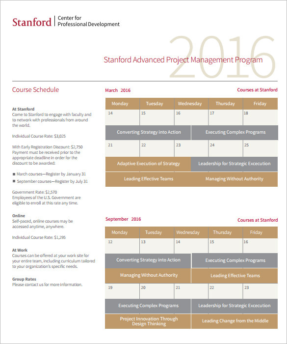 Stanford Advanced Project Management Schedule in PDF Format