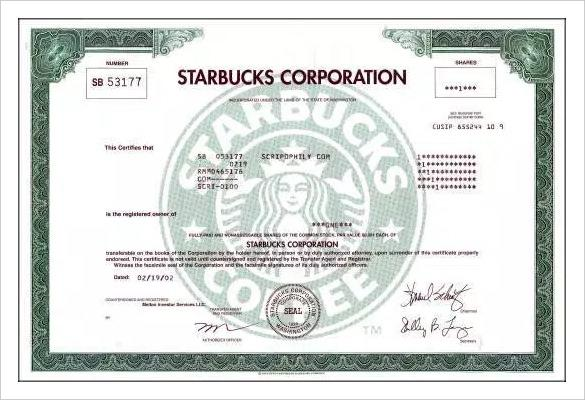 Star Bucks Limited Company Share Certificate Template