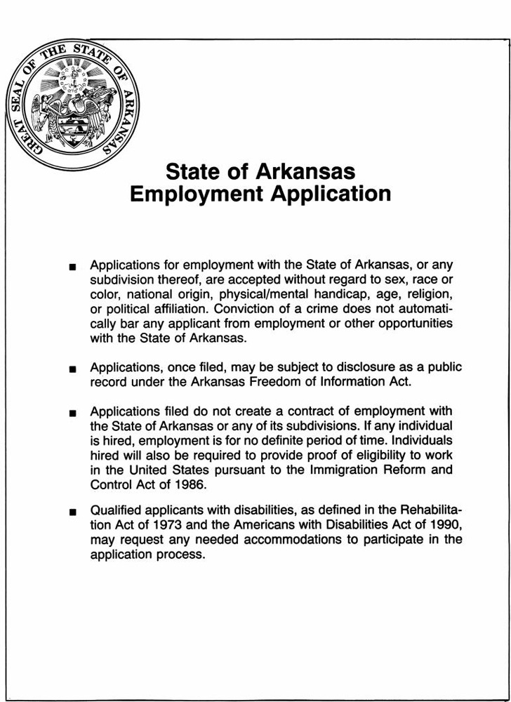 State of Arkansas Employment Application