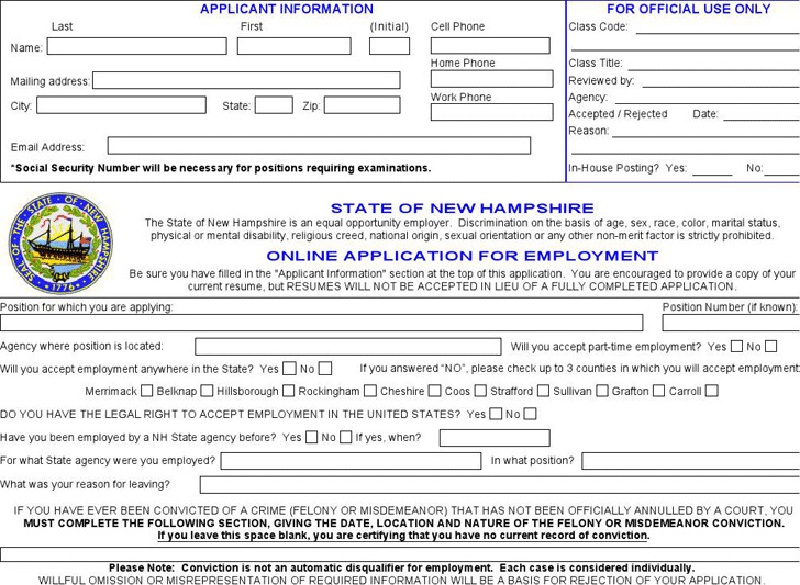 State of New Hampshire Application for Employment