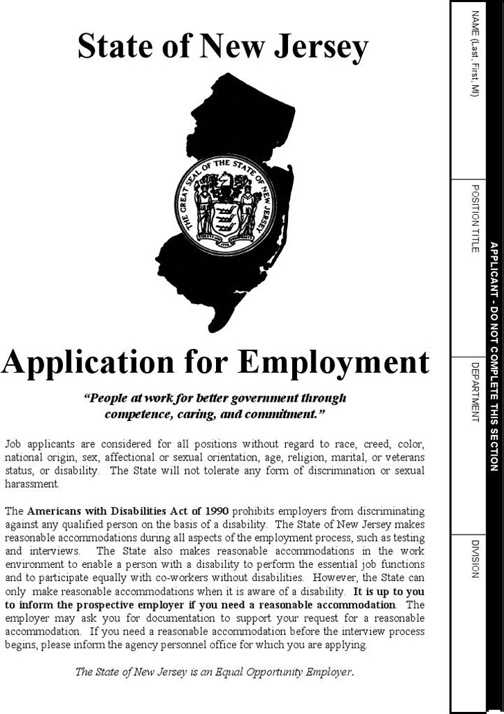 State of New Jersey Affirmative Action Information Form