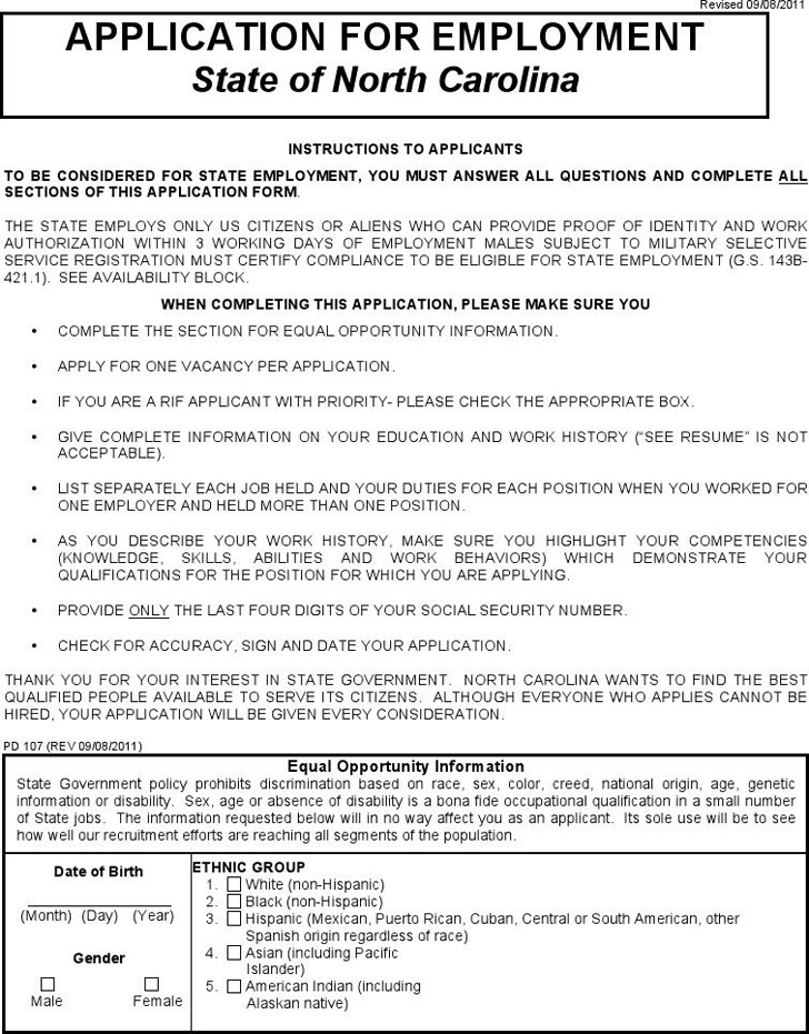 State of North Carolina Application for Employment 1