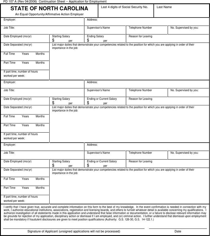 State of North Carolina Application for Employment 3