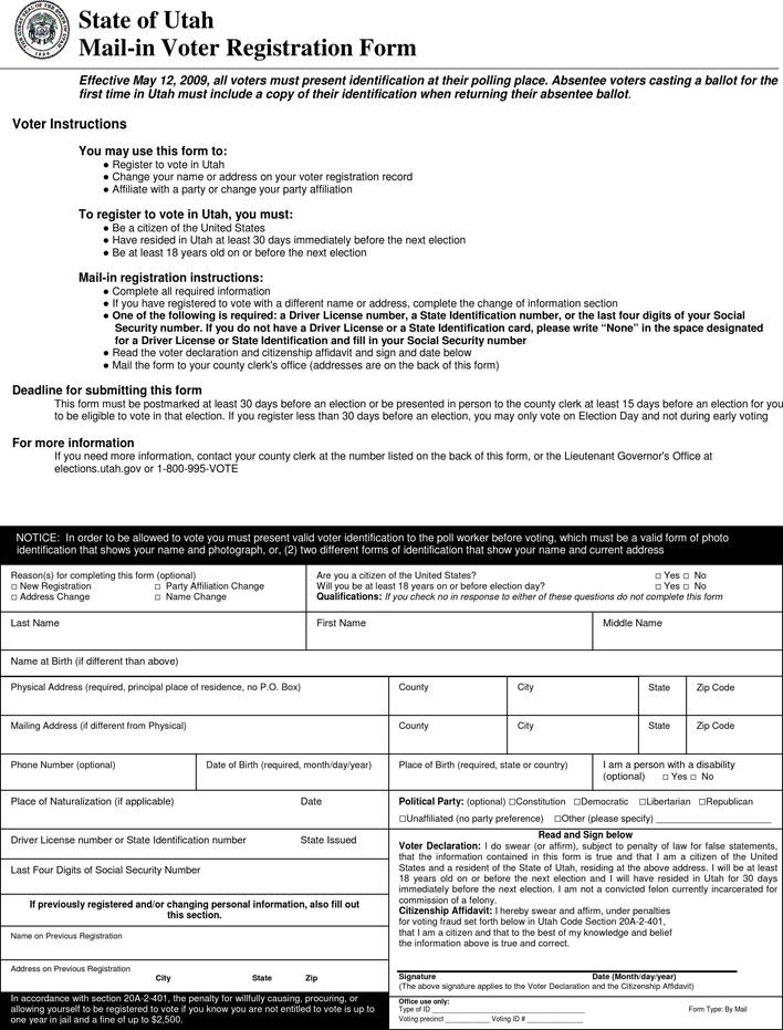State of Utah Mail-In Voter Registration Form