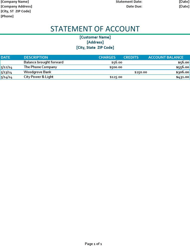 Statement of Account Template 3