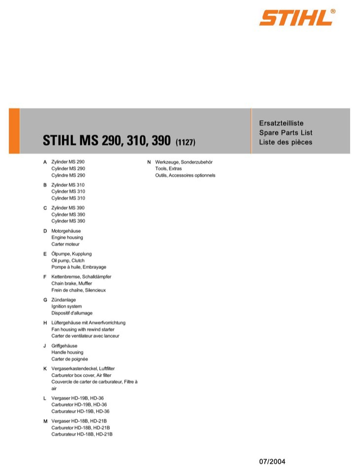 STIHL Parts List Sample