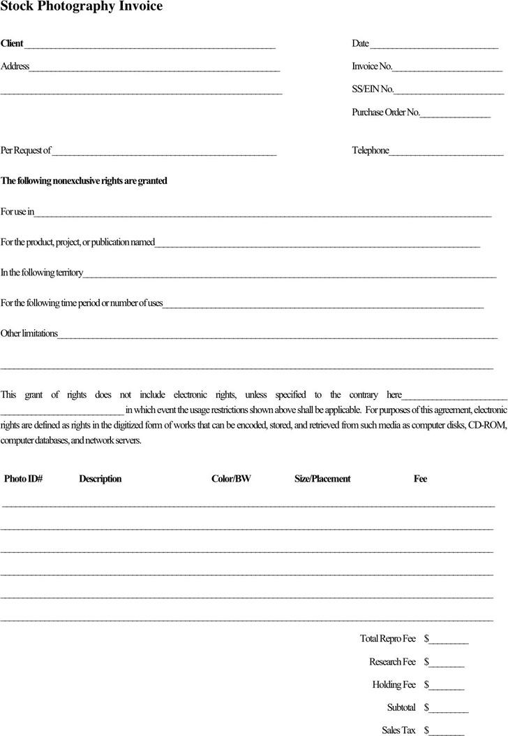 Stock Photography Invoice