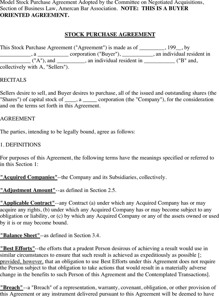 Sample Stock Purchase Agreement Stock Sale And Purchase Agreement