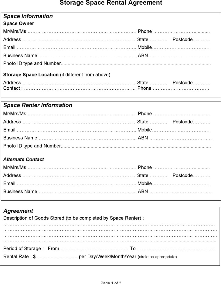 Storage Rental Template  Download Free  Premium Templates Forms